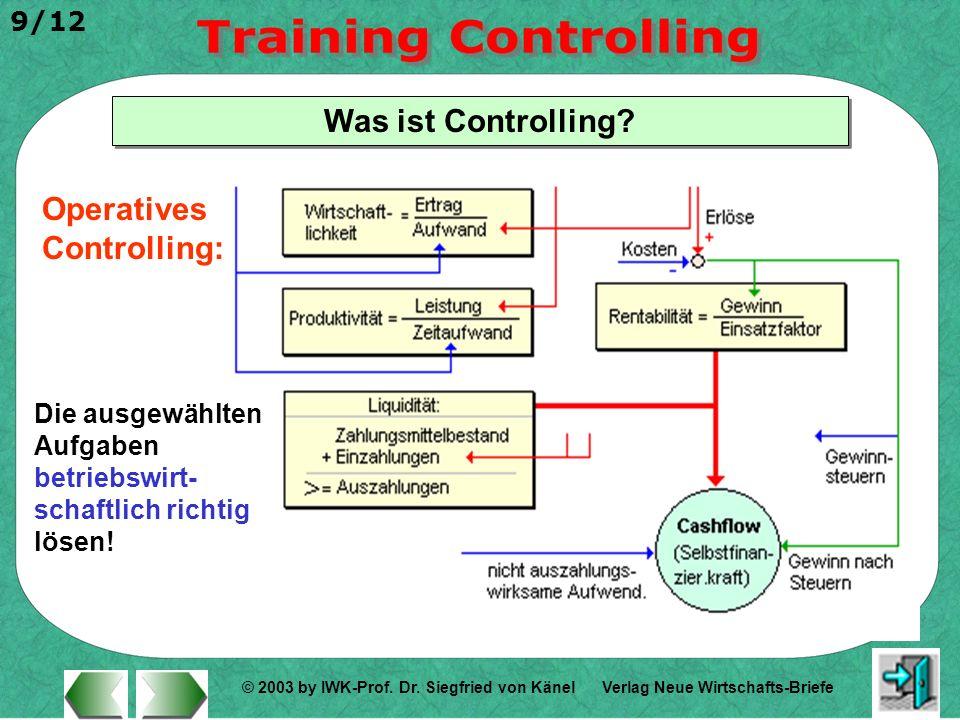 © 2003 by IWK-Prof. Dr. Siegfried von Känel 9/12 Verlag Neue Wirtschafts-Briefe Was ist Controlling? Operatives Controlling: Die ausgewählten Aufgaben