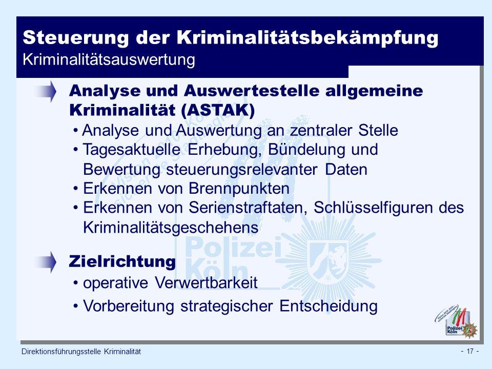 - 17 - Steuerung der Kriminalitätsbekämpfung Kriminalitätsauswertung Direktionsführungsstelle Kriminalität Analyse und Auswertestelle allgemeine Krimi