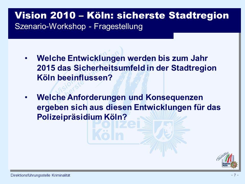 - 8 - Direktionsführungsstelle Kriminalität Vision 2010 – Köln: sicherste Stadtregion Szenario-Workshop – Einflussfaktoren auf die Sicherheitslage Wertewandel Demografische Entwicklung Globalisierung Entwicklung der Infrastruktur Ressourcen Entwicklung der Wirtschaft Politische Vorgaben