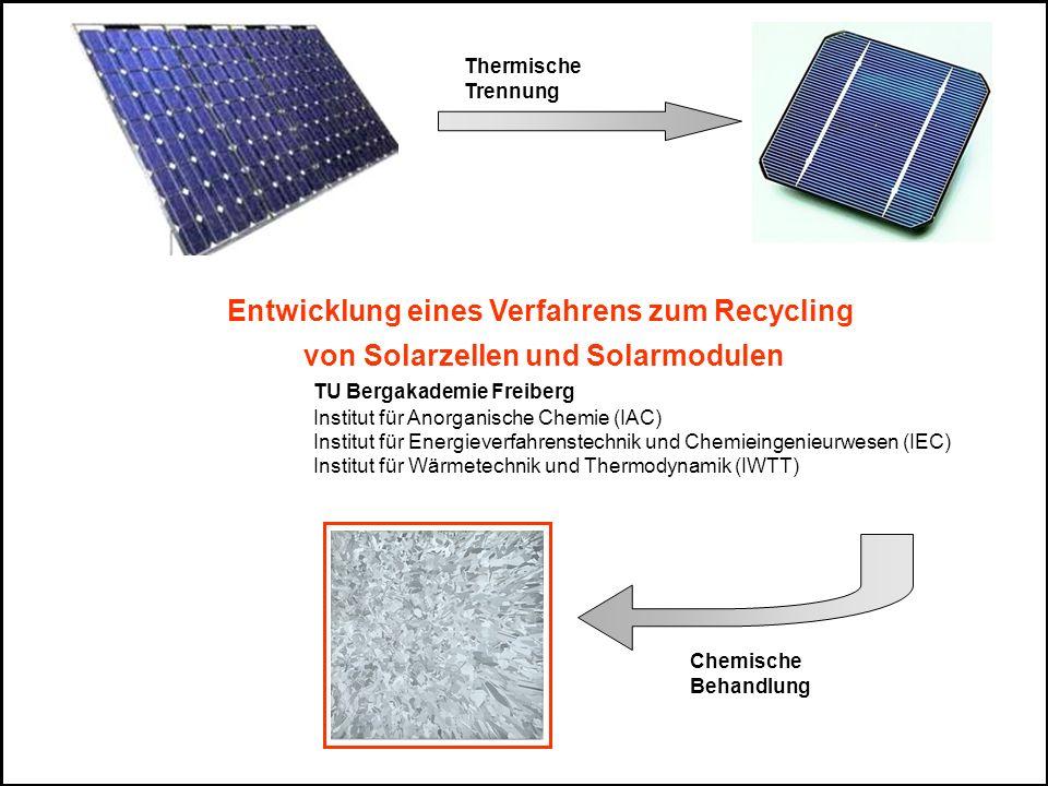 Projektübersicht Pyrolyse Nachverbrennung und Gasreinigung Rückgewonnene Solarzellen Pyrolyse-Gas Wertstoffe: Metall Glas Abgas Defekte Solarmodule Chemische Behandlung Solarwafer Pyrolyseofen Aufbau Pilot- anlage