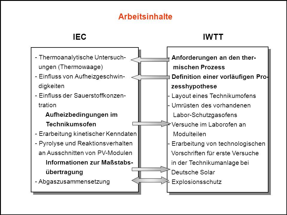 Arbeitsinhalte IEC IWTT - Thermoanalytische Untersuch- ungen (Thermowaage) - Einfluss von Aufheizgeschwin- digkeiten - Einfluss der Sauerstoffkonzen-