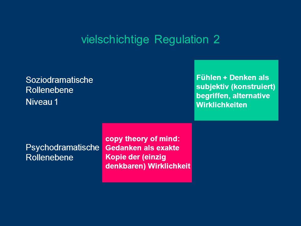 vielschichtige Regulation 2 Soziodramatische Rollenebene Niveau 1 Fühlen + Denken als subjektiv (konstruiert) begriffen, alternative Wirklichkeiten Ps
