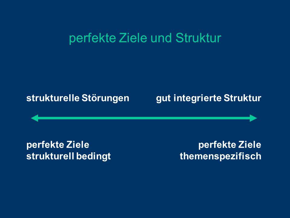 perfekte Ziele und Struktur strukturelle Störungen perfekte Ziele strukturell bedingt gut integrierte Struktur perfekte Ziele themenspezifisch