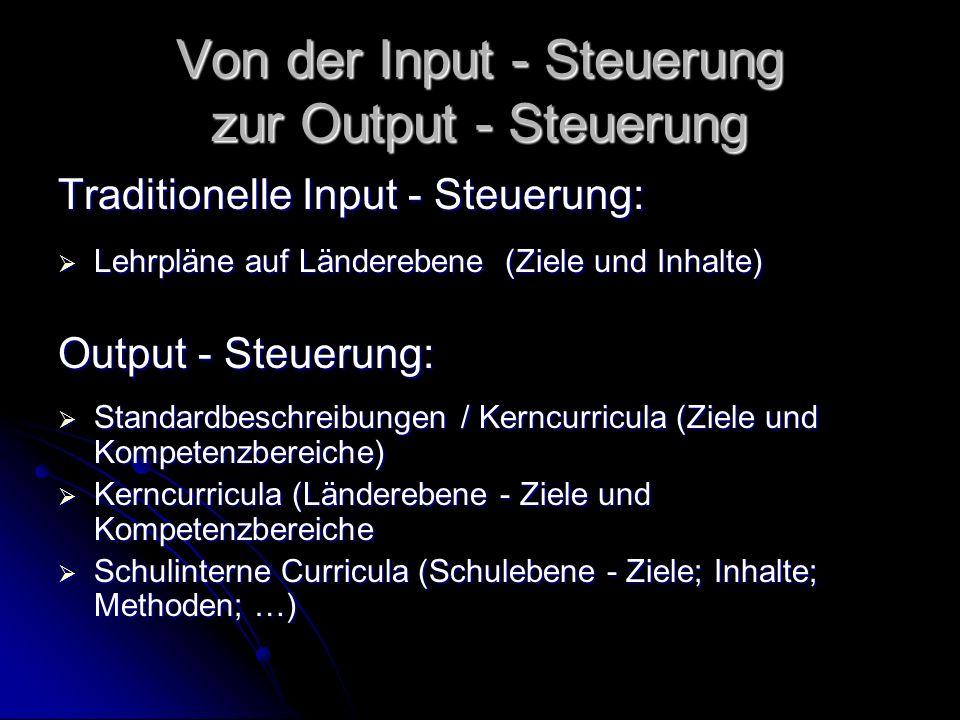 Von der Input - Steuerung zur Output - Steuerung Traditionelle Input - Steuerung: Lehrpläne auf Länderebene (Ziele und Inhalte) Lehrpläne auf Länderebene (Ziele und Inhalte) Output - Steuerung: Standardbeschreibungen / Kerncurricula (Ziele und Kompetenzbereiche) Standardbeschreibungen / Kerncurricula (Ziele und Kompetenzbereiche) Kerncurricula (Länderebene - Ziele und Kompetenzbereiche Kerncurricula (Länderebene - Ziele und Kompetenzbereiche Schulinterne Curricula (Schulebene - Ziele; Inhalte; Methoden; …) Schulinterne Curricula (Schulebene - Ziele; Inhalte; Methoden; …)