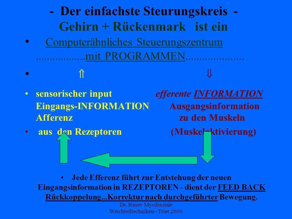 Dr. Rasev Myofasziale Weichteiltechniken - Trier 2000 - Der einfachste Steurungskreis - Gehirn + Rückenmark ist ein Computerähnliches Steuerungszentru