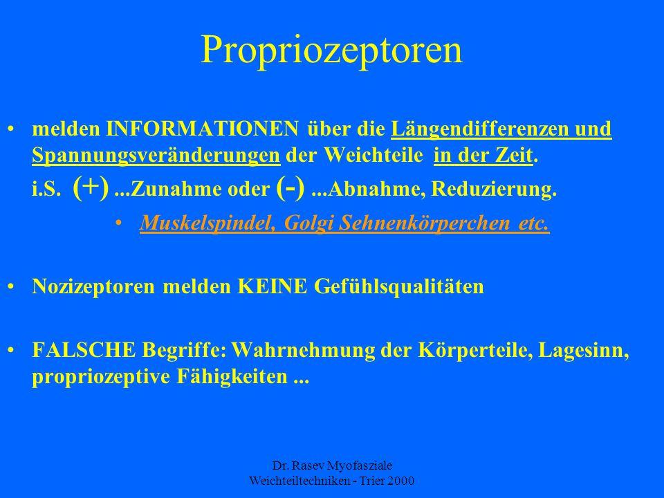 Dr. Rasev Myofasziale Weichteiltechniken - Trier 2000 Propriozeptoren melden INFORMATIONEN über die Längendifferenzen und Spannungsveränderungen der W