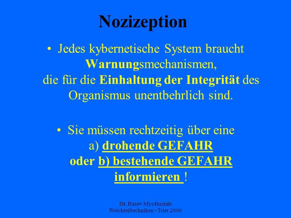Dr. Rasev Myofasziale Weichteiltechniken - Trier 2000 Nozizeption Jedes kybernetische System braucht Warnungsmechanismen, die für die Einhaltung der I