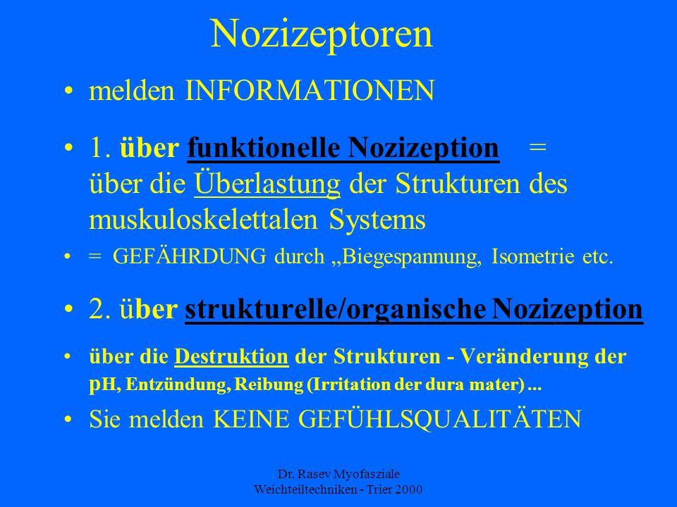 Dr.Rasev Myofasziale Weichteiltechniken - Trier 2000 Nozizeptoren melden INFORMATIONEN 1.