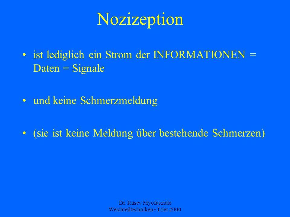 Dr. Rasev Myofasziale Weichteiltechniken - Trier 2000 Nozizeption ist lediglich ein Strom der INFORMATIONEN = Daten = Signale und keine Schmerzmeldung