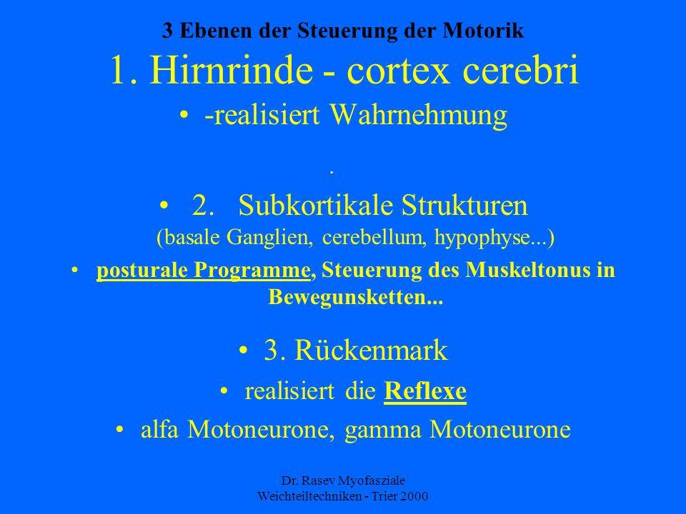 Dr.Rasev Myofasziale Weichteiltechniken - Trier 2000 3 Ebenen der Steuerung der Motorik 1.