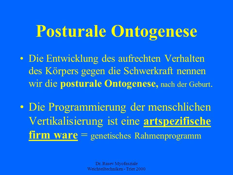 Dr. Rasev Myofasziale Weichteiltechniken - Trier 2000 Posturale Ontogenese Die Entwicklung des aufrechten Verhalten des Körpers gegen die Schwerkraft