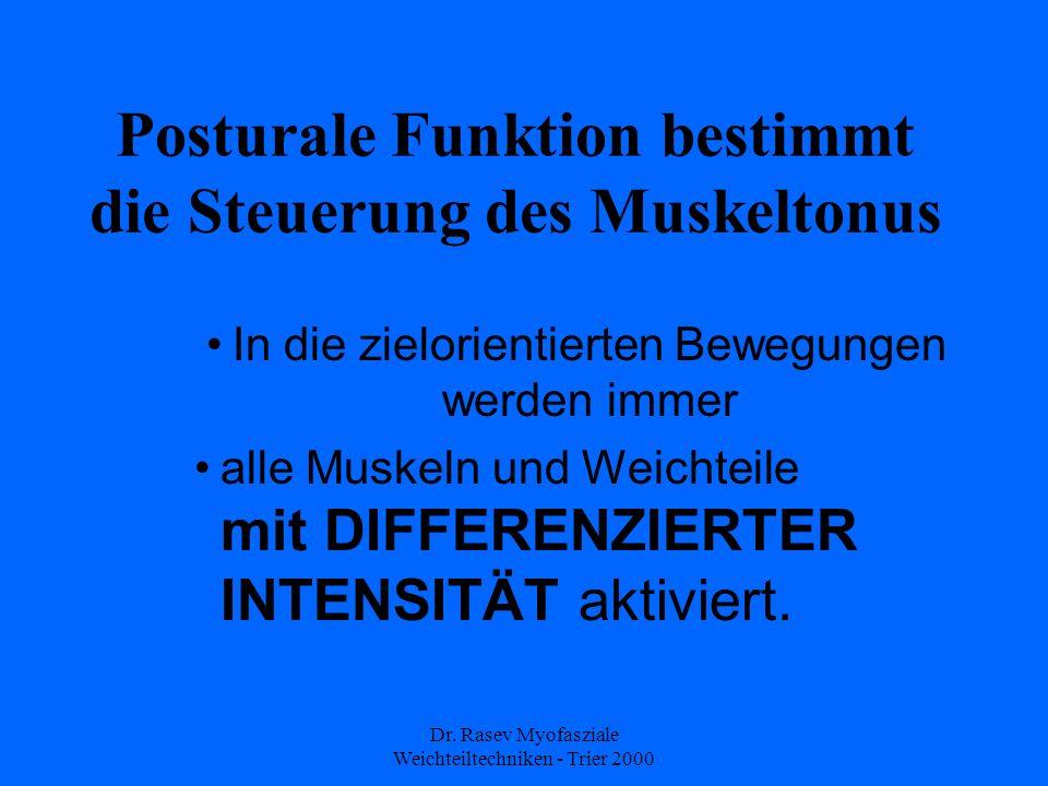 Dr. Rasev Myofasziale Weichteiltechniken - Trier 2000 Posturale Funktion bestimmt die Steuerung des Muskeltonus In die zielorientierten Bewegungen wer