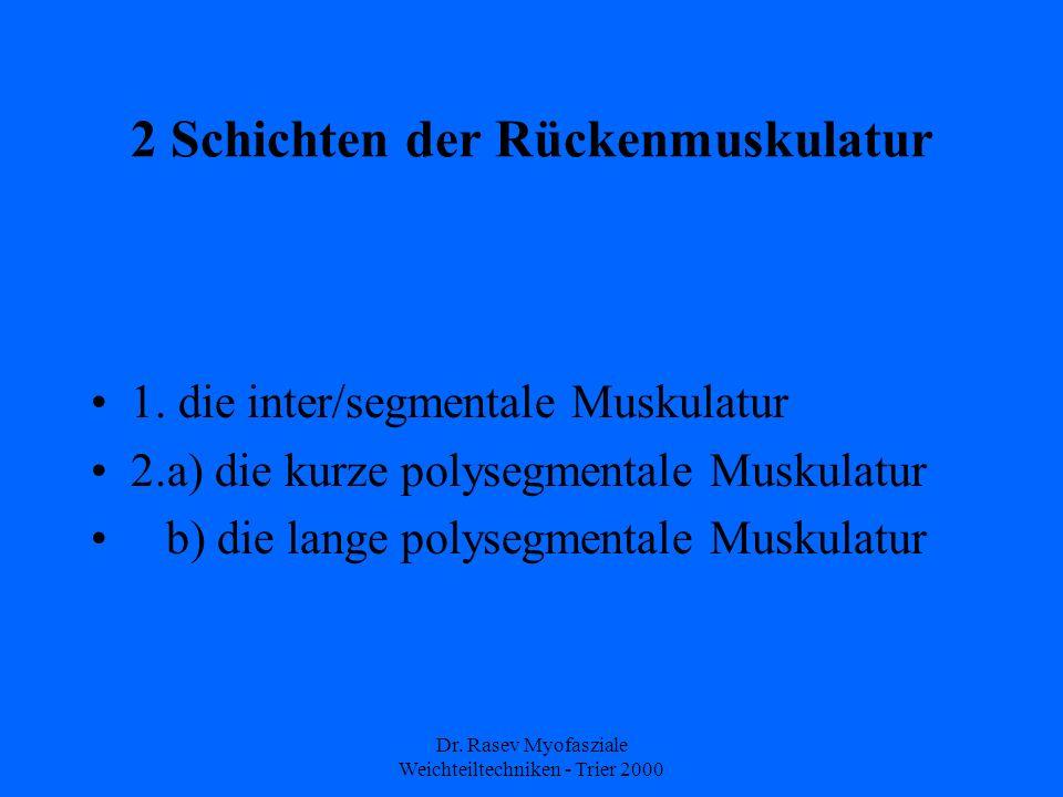Dr.Rasev Myofasziale Weichteiltechniken - Trier 2000 2 Schichten der Rückenmuskulatur 1.