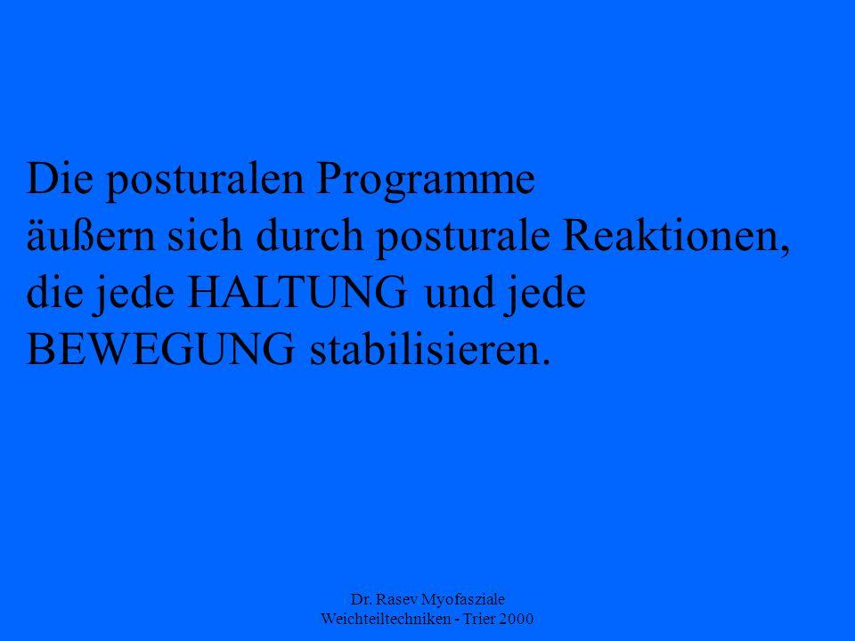Dr. Rasev Myofasziale Weichteiltechniken - Trier 2000 Die posturalen Programme äußern sich durch posturale Reaktionen, die jede HALTUNG und jede BEWEG