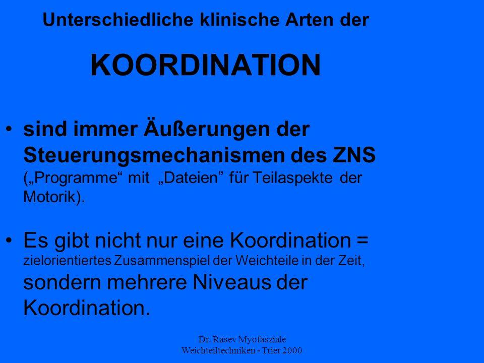 Dr. Rasev Myofasziale Weichteiltechniken - Trier 2000 Unterschiedliche klinische Arten der KOORDINATION sind immer Äußerungen der Steuerungsmechanisme