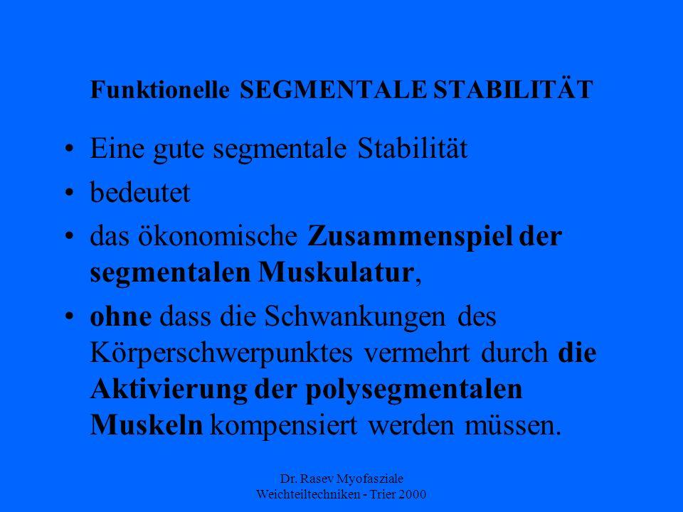 Dr. Rasev Myofasziale Weichteiltechniken - Trier 2000 Funktionelle SEGMENTALE STABILITÄT Eine gute segmentale Stabilität bedeutet das ökonomische Zusa
