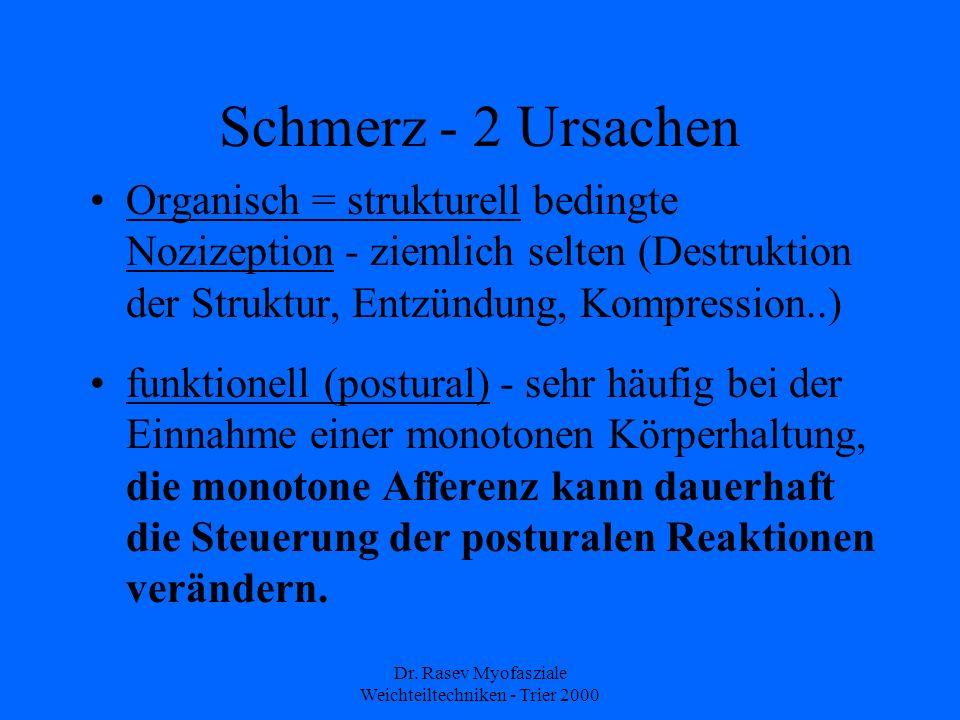 Dr. Rasev Myofasziale Weichteiltechniken - Trier 2000 Schmerz - 2 Ursachen Organisch = strukturell bedingte Nozizeption - ziemlich selten (Destruktion
