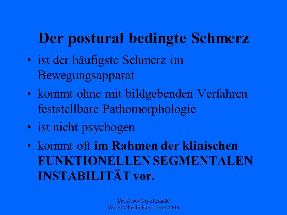 Dr. Rasev Myofasziale Weichteiltechniken - Trier 2000 Der postural bedingte Schmerz ist der häufigste Schmerz im Bewegungsapparat kommt ohne mit bildg