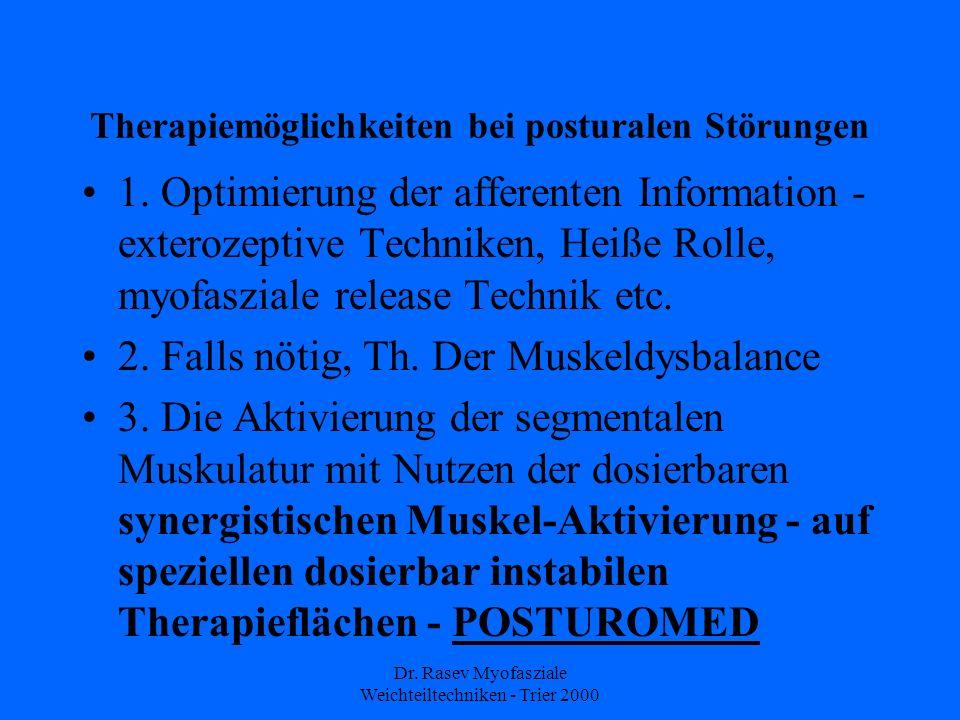 Dr. Rasev Myofasziale Weichteiltechniken - Trier 2000 Therapiemöglichkeiten bei posturalen Störungen 1. Optimierung der afferenten Information - exter