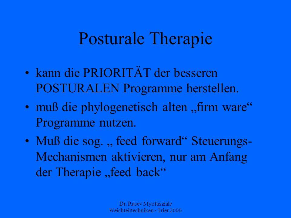 Dr. Rasev Myofasziale Weichteiltechniken - Trier 2000 Posturale Therapie kann die PRIORITÄT der besseren POSTURALEN Programme herstellen. muß die phyl