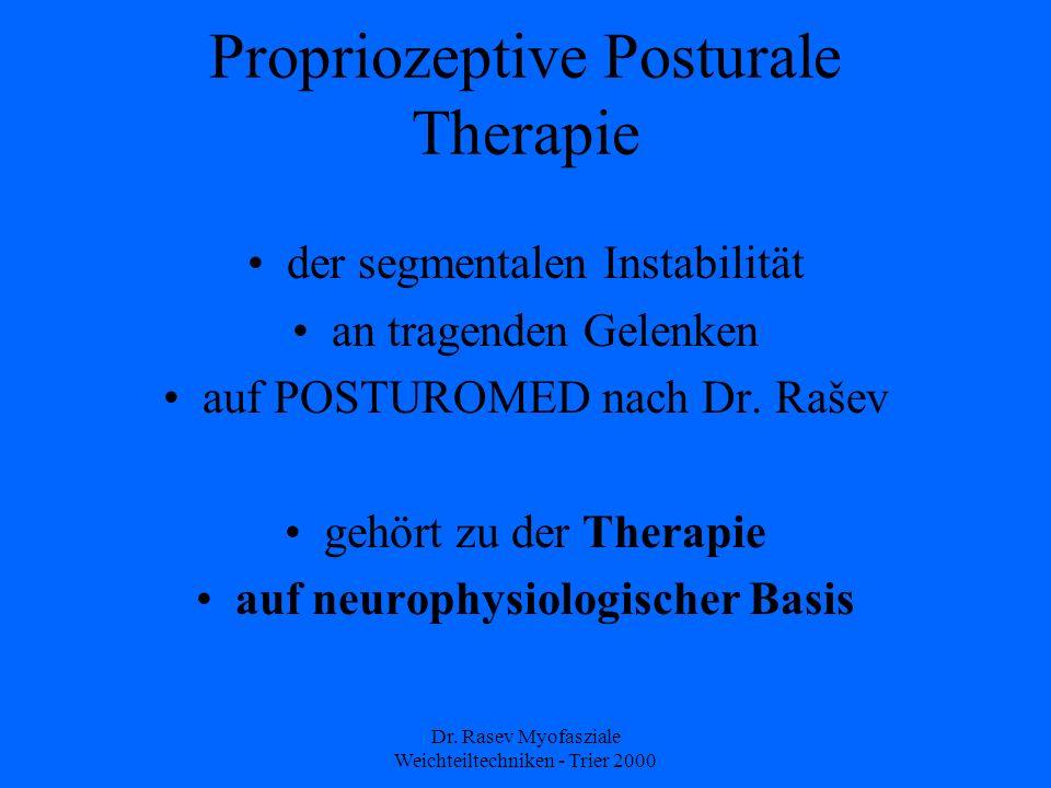 Dr. Rasev Myofasziale Weichteiltechniken - Trier 2000 Propriozeptive Posturale Therapie der segmentalen Instabilität an tragenden Gelenken auf POSTURO