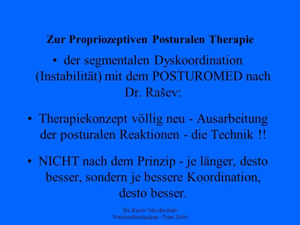 Dr. Rasev Myofasziale Weichteiltechniken - Trier 2000 Zur Propriozeptiven Posturalen Therapie der segmentalen Dyskoordination (Instabilität) mit dem P
