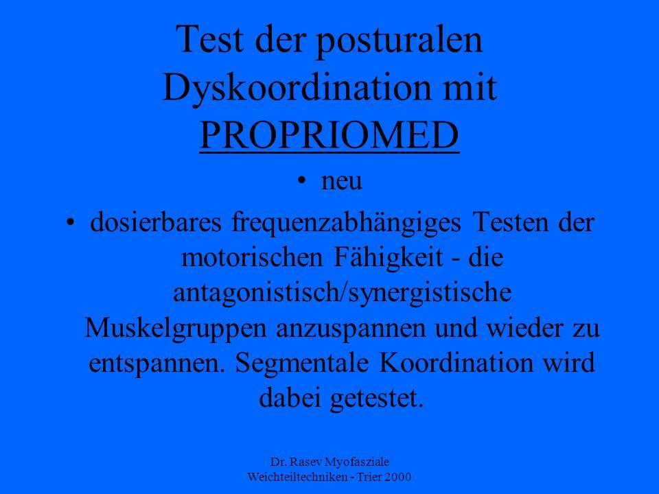 Dr. Rasev Myofasziale Weichteiltechniken - Trier 2000 Test der posturalen Dyskoordination mit PROPRIOMED neu dosierbares frequenzabhängiges Testen der