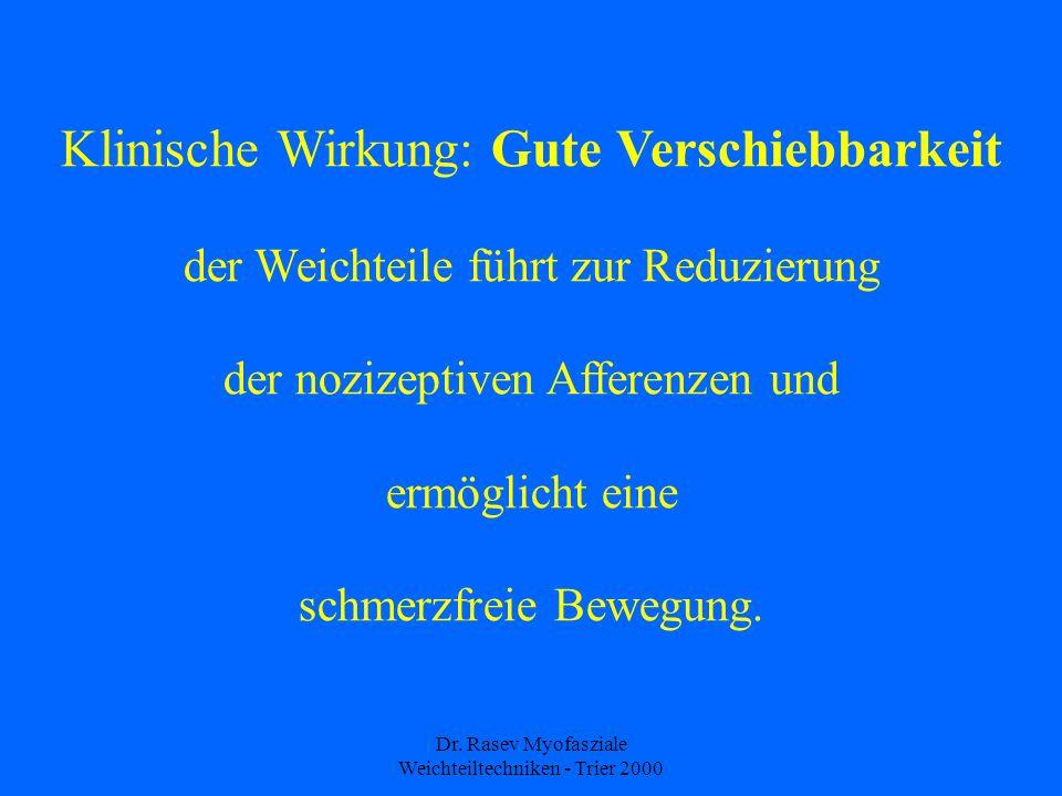 Dr. Rasev Myofasziale Weichteiltechniken - Trier 2000 Klinische Wirkung: Gute Verschiebbarkeit der Weichteile führt zur Reduzierung der nozizeptiven A