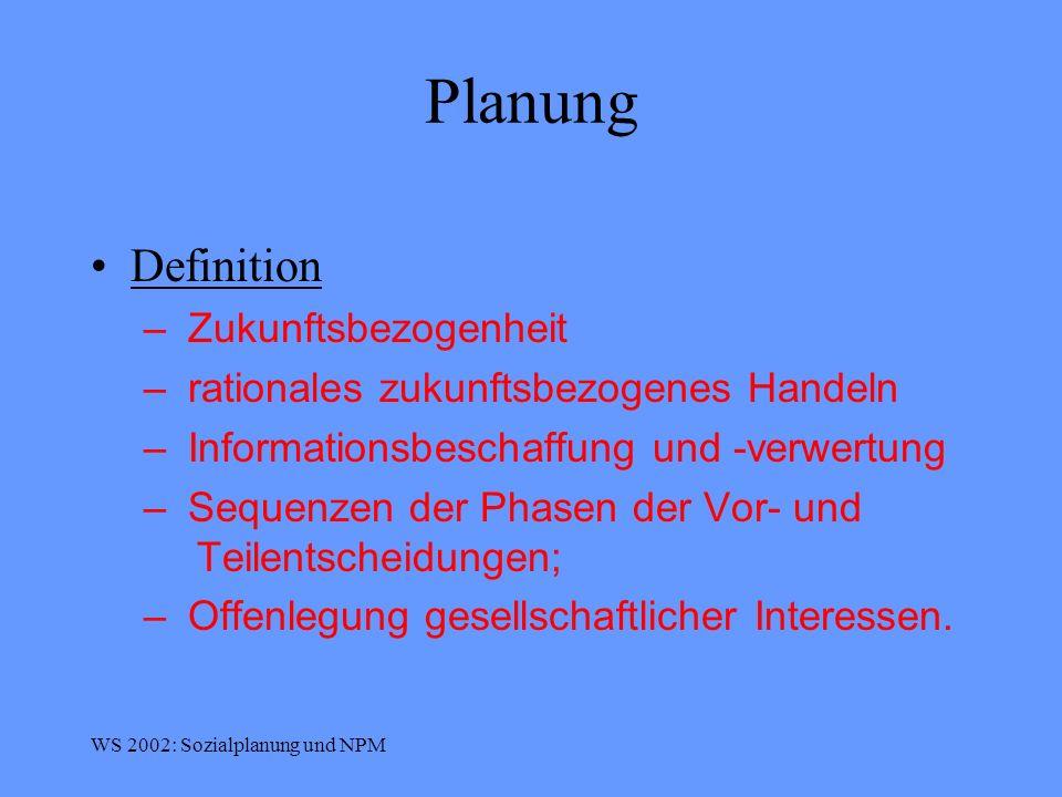 WS 2002: Sozialplanung und NPM New Public Management (NPM) Definition 4 NPM beschreibt ein Leitbild moderner Verwaltung, das von Zielorientierung, Wirtschaftlichkeit und Orientierung am Markt, Wettbewerb und Kundenorientierung beherrscht wird (es dient als Grundlage örtlicher Leitbilder).