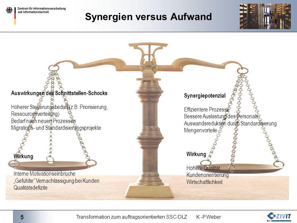 5 Transformation zum auftragsorientierten SSC/DLZ K.-P.Weber Synergien versus Aufwand Auswirkungen des Schnittstellen-Schocks Höherer Steuerungsbedarf (z.B.