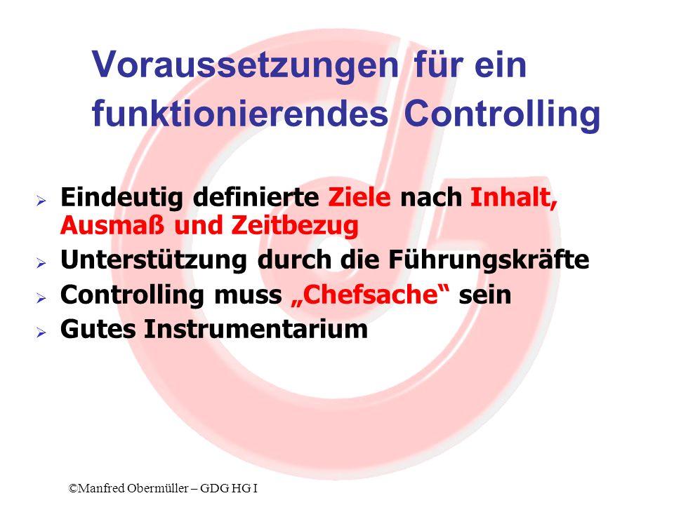 Einführung einer KORE (2) Die Schlüssel für die Einführung einer KORE: Kosten- und Leistungstransparenz Kostenbewusstsein Kostendisziplin ©Manfred Obermüller – GDG HG I