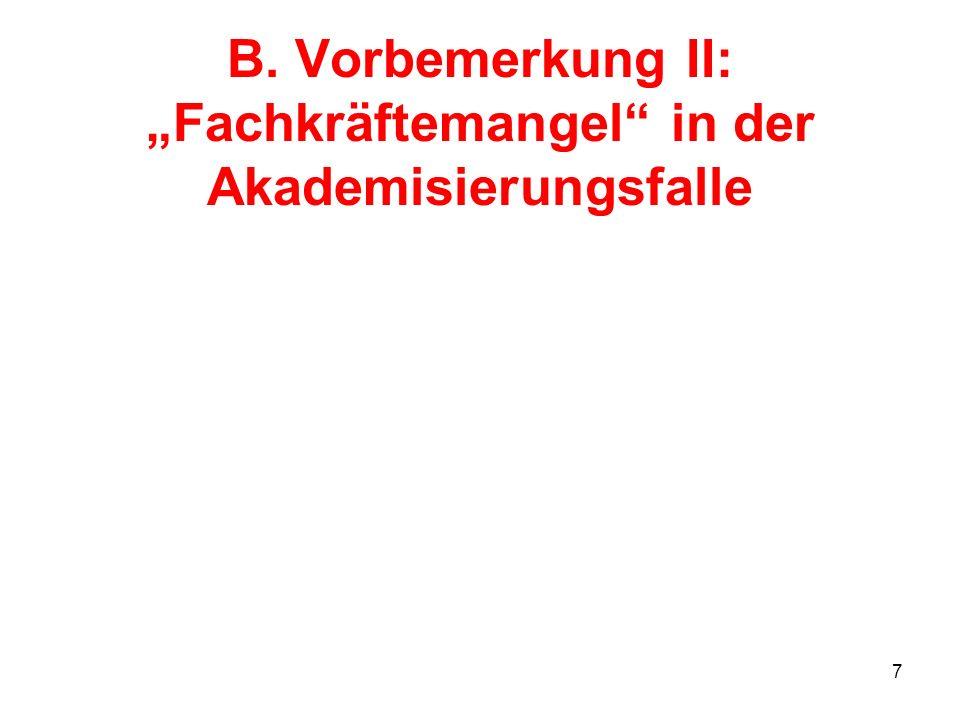 7 B. Vorbemerkung II: Fachkräftemangel in der Akademisierungsfalle