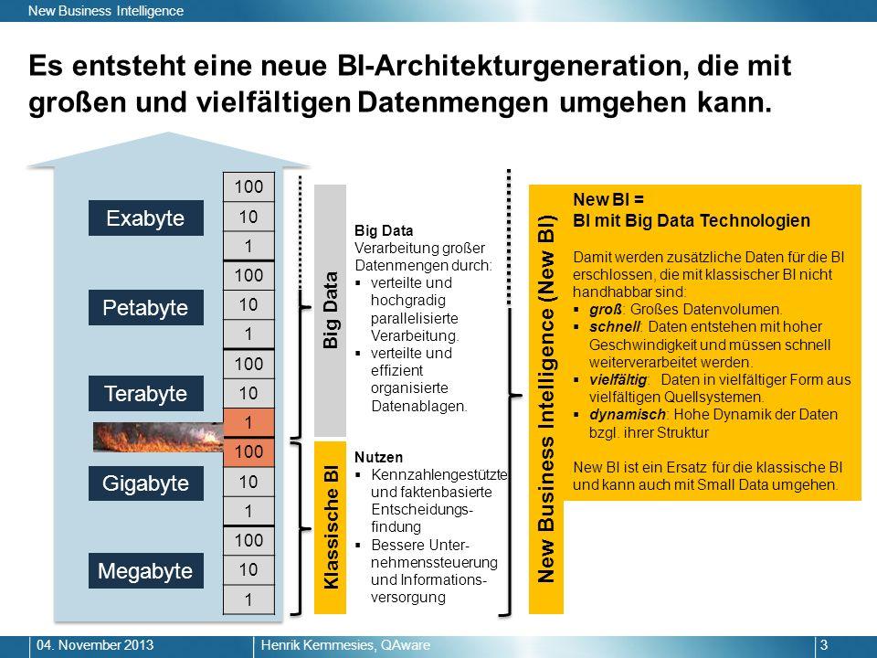 Es entsteht eine neue BI-Architekturgeneration, die mit großen und vielfältigen Datenmengen umgehen kann. Henrik Kemmesies, QAware304. November 2013 N