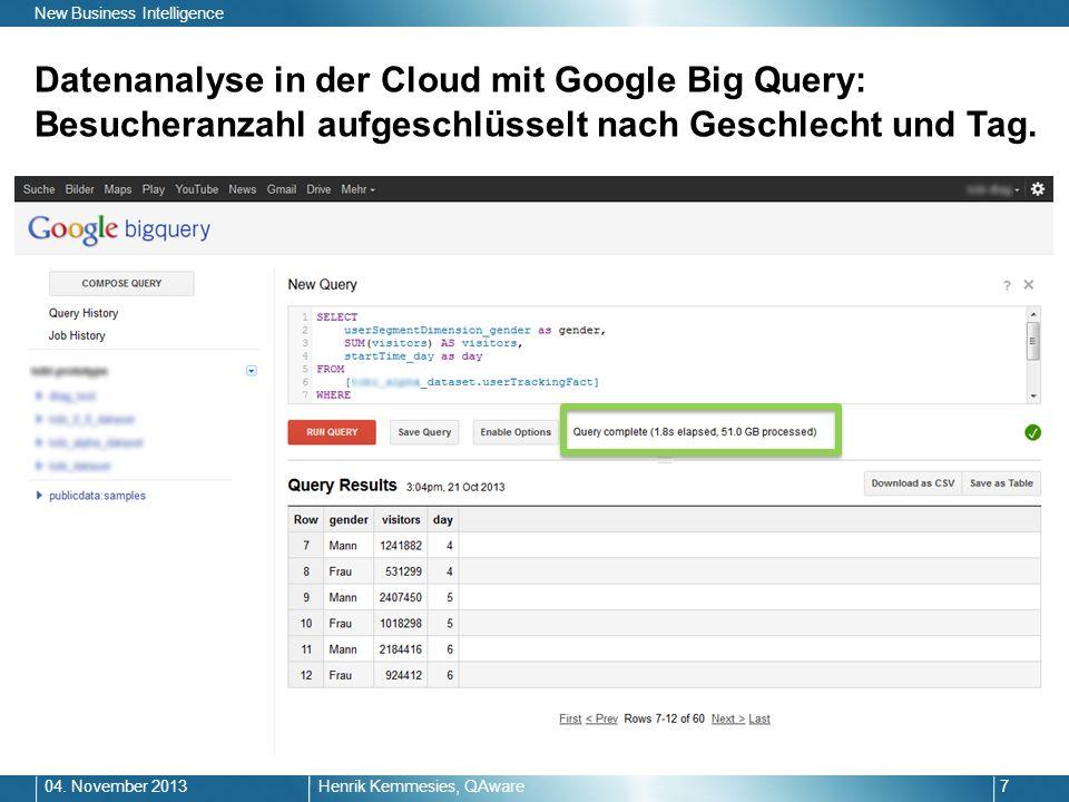 Datenanalyse in der Cloud mit Google Big Query: Besucheranzahl aufgeschlüsselt nach Geschlecht und Tag. Henrik Kemmesies, QAware704. November 2013 New