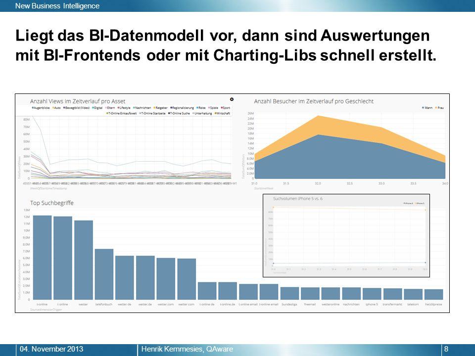Liegt das BI-Datenmodell vor, dann sind Auswertungen mit BI-Frontends oder mit Charting-Libs schnell erstellt. Henrik Kemmesies, QAware804. November 2