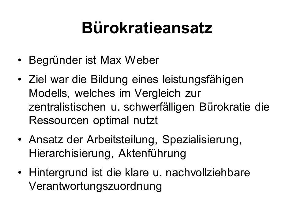 Bürokratieansatz Begründer ist Max Weber Ziel war die Bildung eines leistungsfähigen Modells, welches im Vergleich zur zentralistischen u. schwerfälli