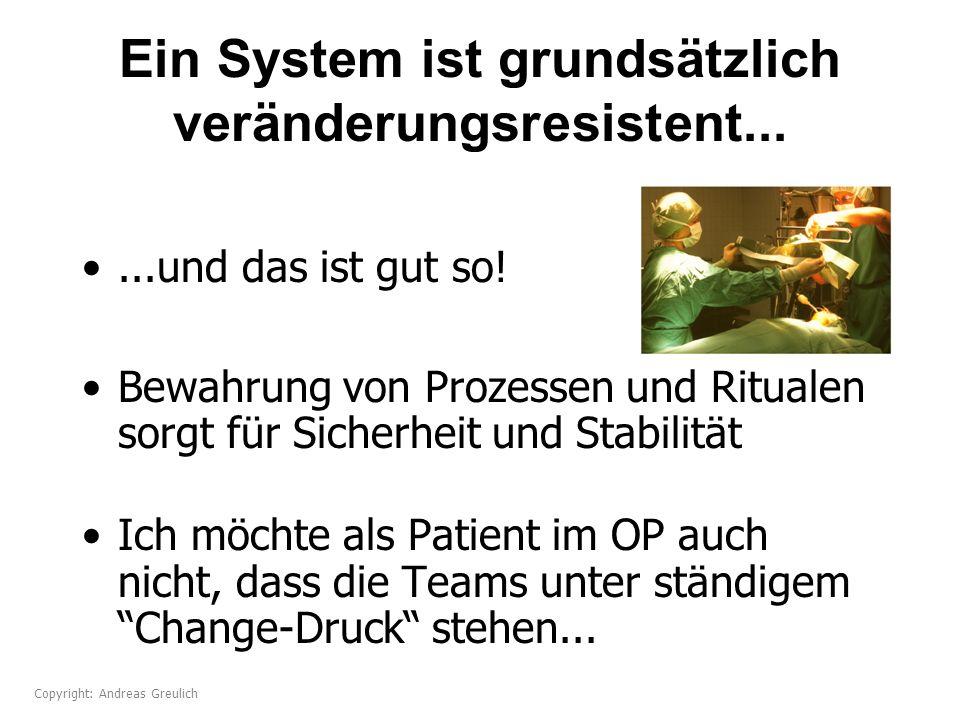 Ein System ist grundsätzlich veränderungsresistent......und das ist gut so! Bewahrung von Prozessen und Ritualen sorgt für Sicherheit und Stabilität I