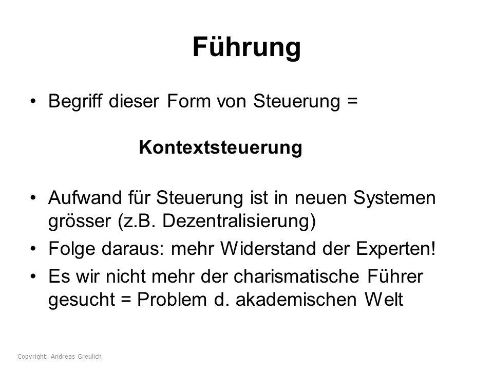 Führung Begriff dieser Form von Steuerung = Kontextsteuerung Aufwand für Steuerung ist in neuen Systemen grösser (z.B. Dezentralisierung) Folge daraus