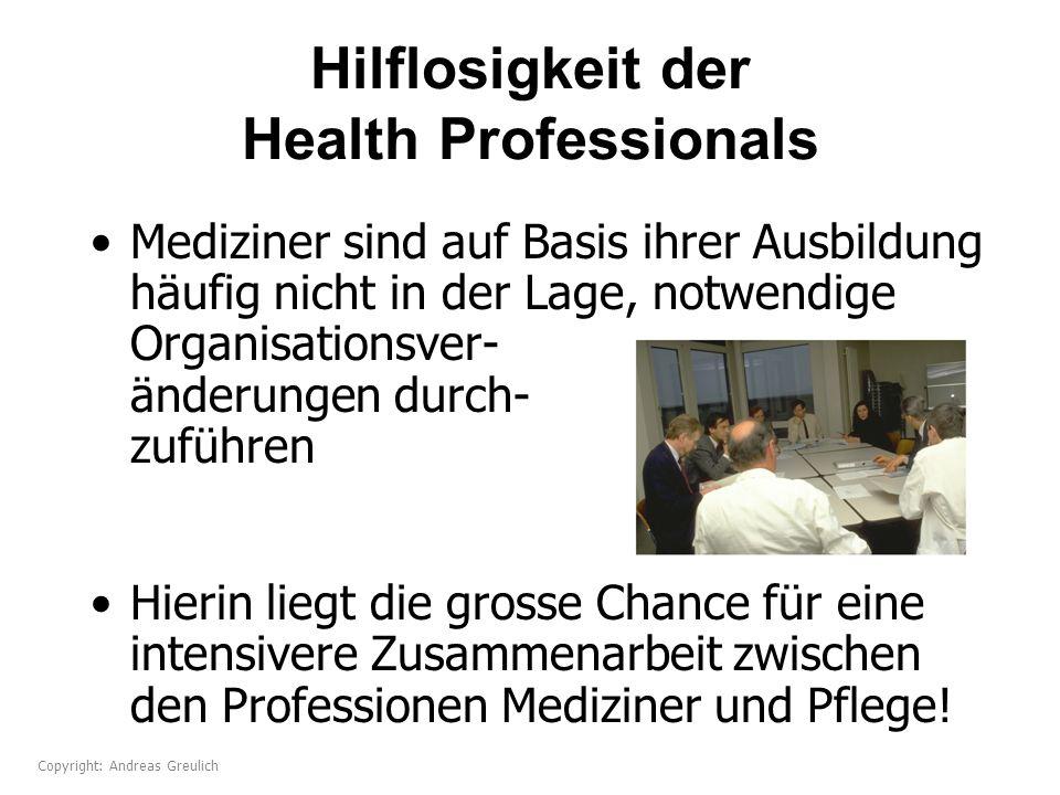 Hilflosigkeit der Health Professionals Mediziner sind auf Basis ihrer Ausbildung häufig nicht in der Lage, notwendige Organisationsver- änderungen dur