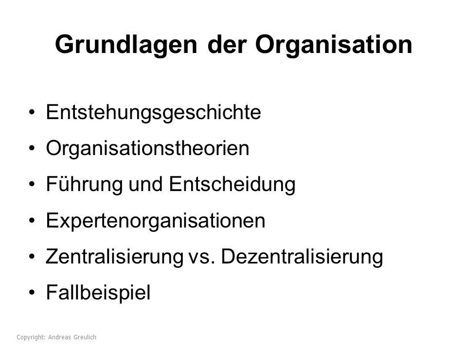 Grundlagen der Organisation Entstehungsgeschichte Organisationstheorien Führung und Entscheidung Expertenorganisationen Zentralisierung vs. Dezentrali