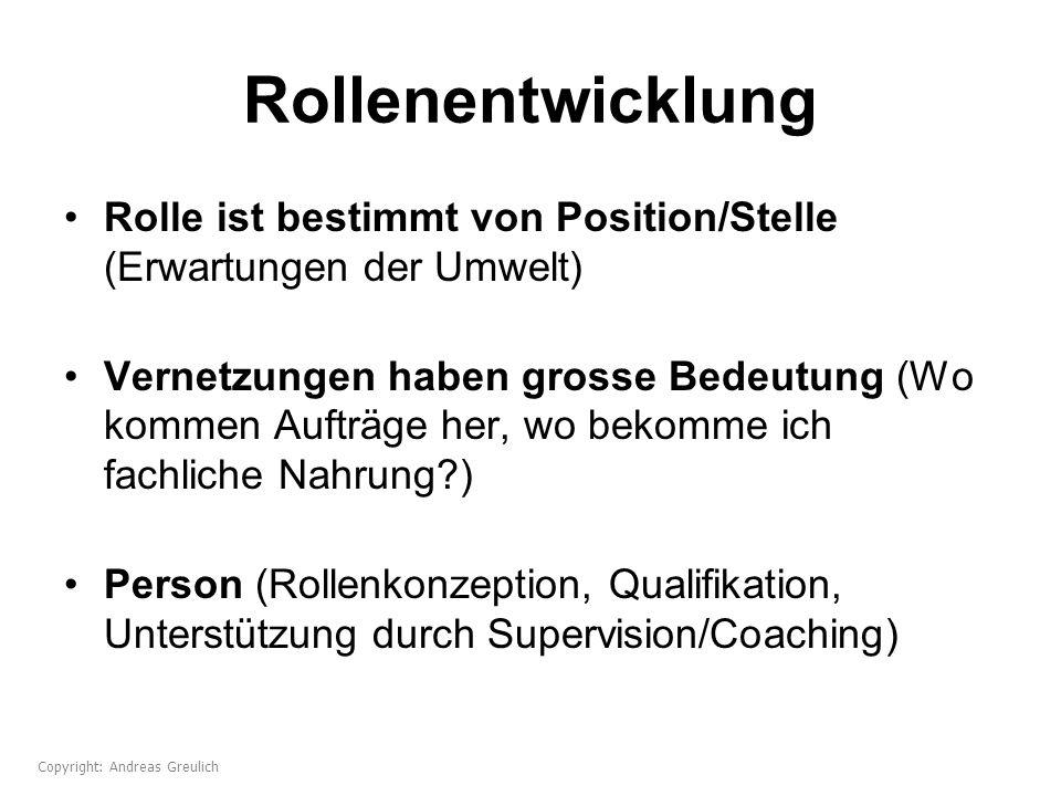 Rollenentwicklung Rolle ist bestimmt von Position/Stelle (Erwartungen der Umwelt) Vernetzungen haben grosse Bedeutung (Wo kommen Aufträge her, wo beko