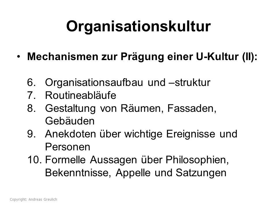 Organisationskultur Mechanismen zur Prägung einer U-Kultur (II): 6. Organisationsaufbau und –struktur 7. Routineabläufe 8. Gestaltung von Räumen, Fass