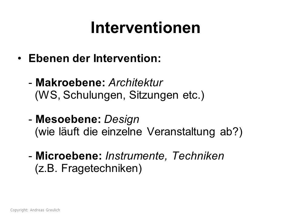 Interventionen Ebenen der Intervention: - Makroebene: Architektur (WS, Schulungen, Sitzungen etc.) - Mesoebene: Design (wie läuft die einzelne Veranst