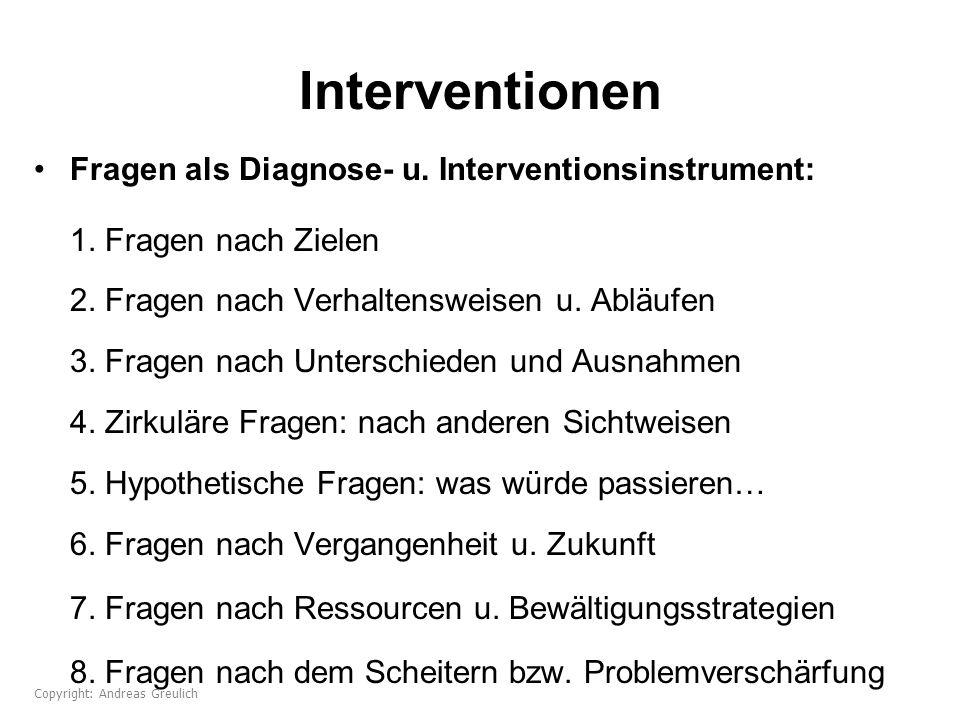 Interventionen Fragen als Diagnose- u. Interventionsinstrument: 1. Fragen nach Zielen 2. Fragen nach Verhaltensweisen u. Abläufen 3. Fragen nach Unter