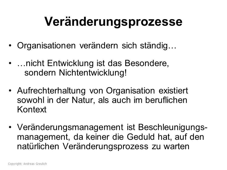 Veränderungsprozesse Organisationen verändern sich ständig… …nicht Entwicklung ist das Besondere, sondern Nichtentwicklung! Aufrechterhaltung von Orga