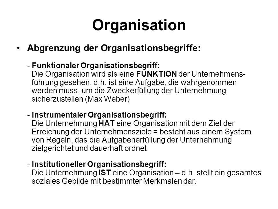Organisation Abgrenzung der Organisationsbegriffe: - Funktionaler Organisationsbegriff: Die Organisation wird als eine FUNKTION der Unternehmens- führ