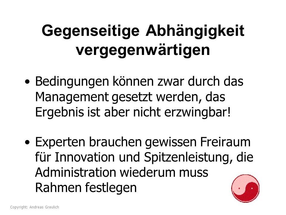 Gegenseitige Abhängigkeit vergegenwärtigen Bedingungen können zwar durch das Management gesetzt werden, das Ergebnis ist aber nicht erzwingbar! Expert