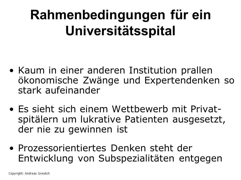 Rahmenbedingungen für ein Universitätsspital Kaum in einer anderen Institution prallen ökonomische Zwänge und Expertendenken so stark aufeinander Es s