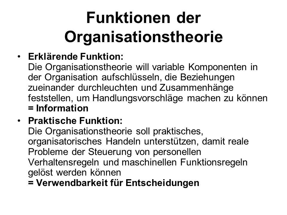 Funktionen der Organisationstheorie Erklärende Funktion: Die Organisationstheorie will variable Komponenten in der Organisation aufschlüsseln, die Bez