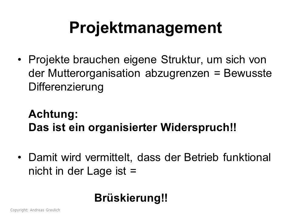 Projektmanagement Projekte brauchen eigene Struktur, um sich von der Mutterorganisation abzugrenzen = Bewusste Differenzierung Achtung: Das ist ein or
